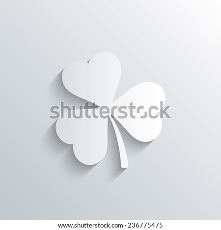 Cutout paper background. Clover with three leaves sign icon. Trifoliate clover. Saint Patrick trefoil symbol. White poster with icon. Vector - stock vector