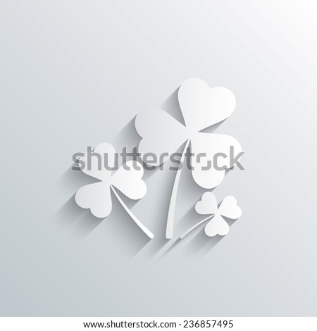 Cutout paper background. Clovers with three leaves sign icon. Saint Patrick trefoil shamrock symbol. White poster with icon. Vector - stock vector