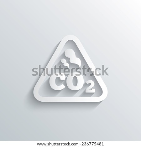 Cutout paper background. CO2 carbon dioxide formula sign icon. Chemistry symbol. White poster with icon. Vector - stock vector