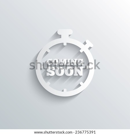 Cutout paper background. Coming soon sign icon. Promotion announcement symbol. White poster with icon. Vector - stock vector