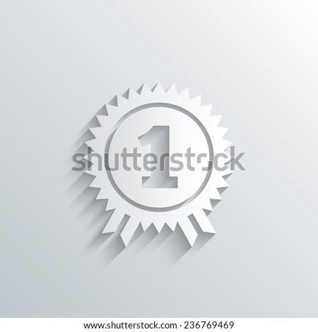 Cutout paper background. First place award sign icon. Prize for winner symbol. White poster with icon. Vector - stock vector