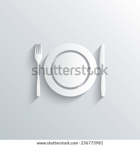 Cutout paper background. Plate dish with fork and knife. Eat sign icon. Cutlery etiquette rules symbol. White poster with icon. Vector - stock vector