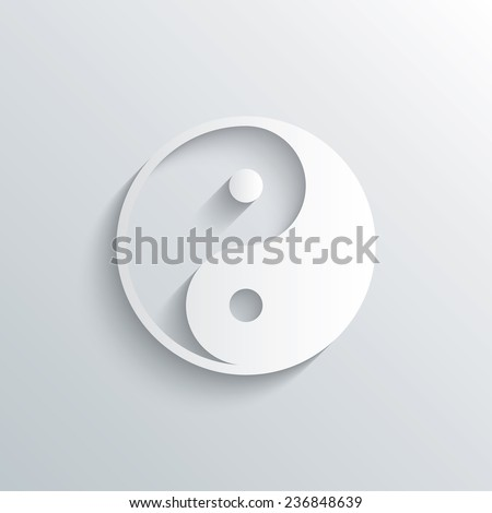 Cutout paper background. Ying yang sign icon. Harmony and balance symbol. White poster with icon. Vector - stock vector