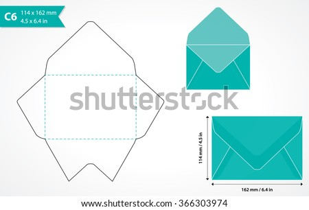 Cutout Paper Envelope Template Perfect Making Stock Vector - Make your own envelope template
