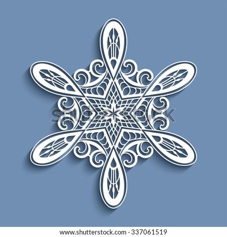 Cutout paper lace doily, vector snowflake, sticker, Christmas decoration, crochet ornament template, eps10 - stock vector