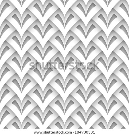 Cutout paper texture, abstract scaly geometric background, vector seamless pattern, eps10 - stock vector
