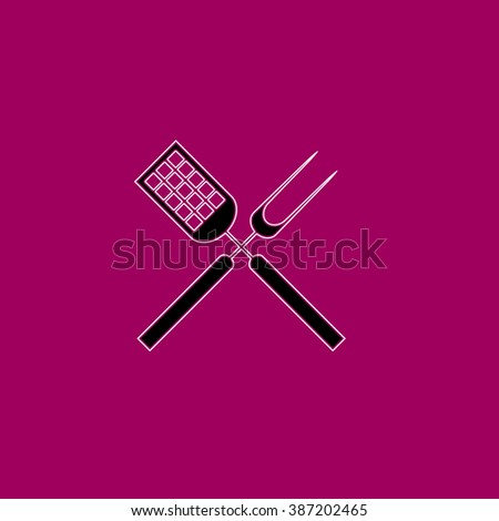 Cutters flat symbol pictogram over purple background. line vector icon with stroke - stock vector