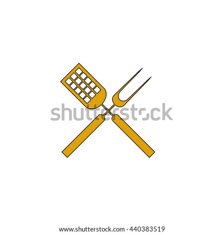 Cutters Flat yellow thin line symbol on white background. Vector icon - stock vector
