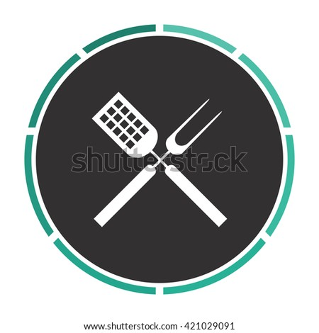 Cutters Simple flat white vector pictogram on black circle. Illustration icon - stock vector