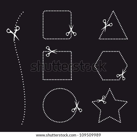 cutting areas with scissors on black background, Vector illustration - stock vector