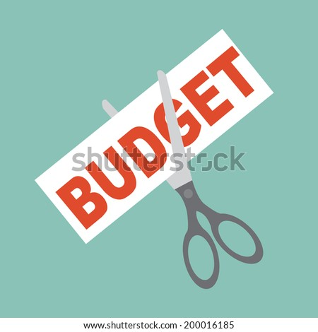cutting budget - stock vector