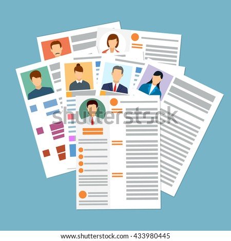 choosing best resume hiring employment select stock vector