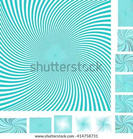 Cyan and white vector spiral design background set. Different color, gradient, screen, paper size versions. - stock vector