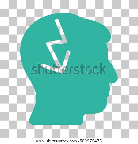 Cyan Brain Electric Strike interface toolbar pictogram. Vector pictogram style is a flat symbol on chess transparent background.