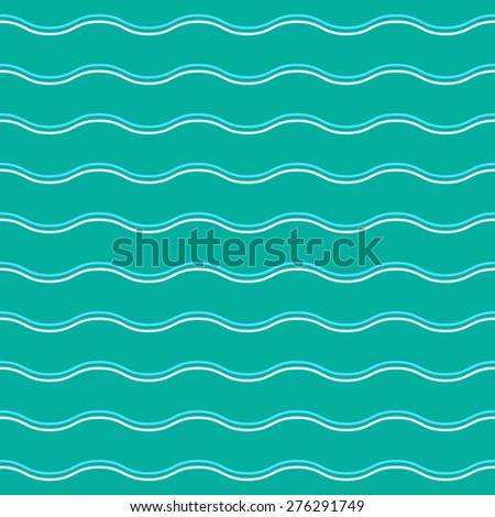 Cyan curve wave pattern vector. Curve wave background. Cyan water wave vector. Sea wave pattern. Seamless pattern vector. River Background vector. Water element background. - stock vector