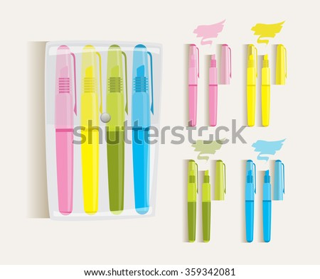 Cyan, magenta, yellow and green markers, vector draw illustration, isolated objects.  - stock vector