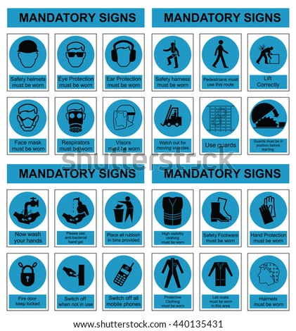 Cyan mandatory construction engineering and manufacturing health and safety sign set isolated on white background