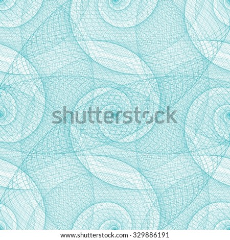Cyan seamless wired swirl fractal pattern background - stock vector