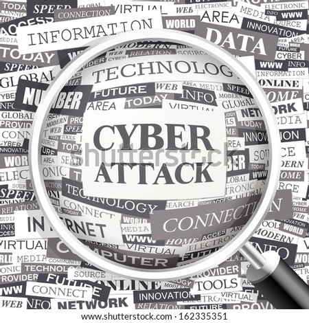 CYBER ATTACK. Concept illustration. Graphic tag collection. Word cloud collage. Vector illustration.