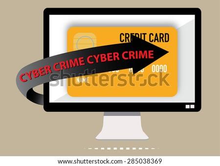 Cyber crime warning of credit card phishing. Vector Illustration - stock vector