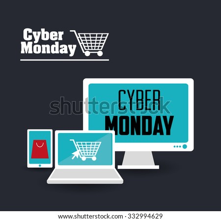 Cyber monday concept with sale icons design, vector illustration 10 eps graphic. - stock vector