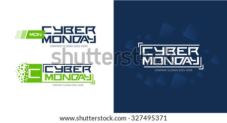 Cyber monday logo design templates with technology dark blue abstract background, vector illustration. - stock vector