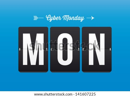 Cyber monday, mechanical panel letters. Typography, font, type vector vintage retro. - stock vector