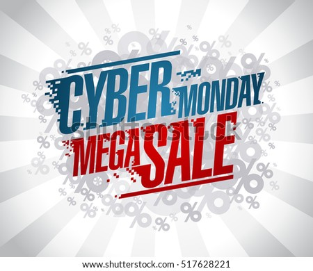 Cyber monday mega sale design concept