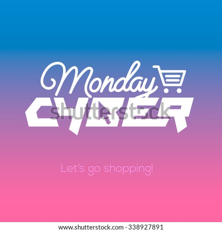 Cyber Monday, online shopping and marketing concept, vector illustration. - stock vector