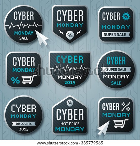 Cyber Monday promo banner, advertising promo stickers templates, sales web elements with discounts, sale labels, badges. Cyber monday deals design concept - stock vector