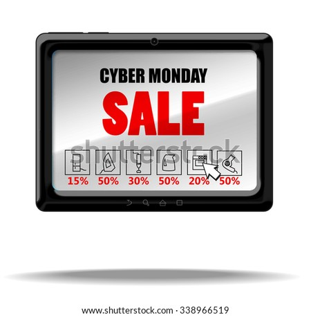 Cyber monday sale. Vector tablet PC with text