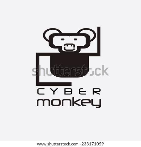 cyber monkey computer shop vector design template - stock vector