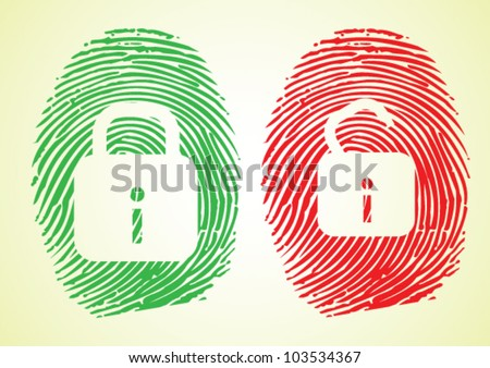 Cyber security and Hacking - Lock sign on thumbprint