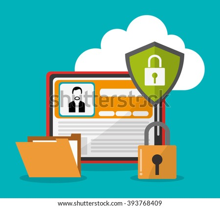 Cyber security and tablet design - stock vector