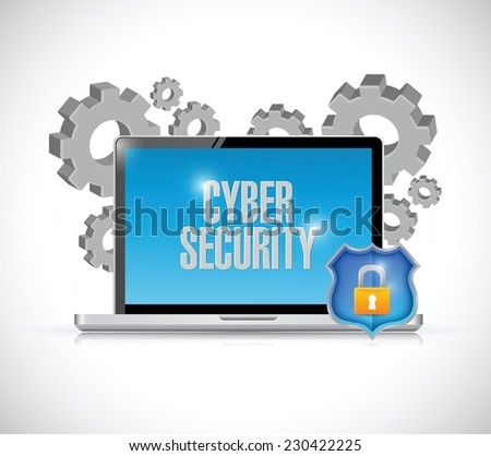 cyber security computer gears and shield. illustration design over a white background - stock vector
