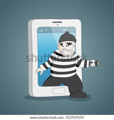 Cyber thief in internet come out from mobile.Cyberthieves concept. - stock vector