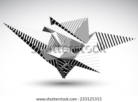 Cybernetic polygonal contrast element constructed from simple geometric figures. Misshapen lined acute object for graphic design. Black and white stencil model. - stock vector
