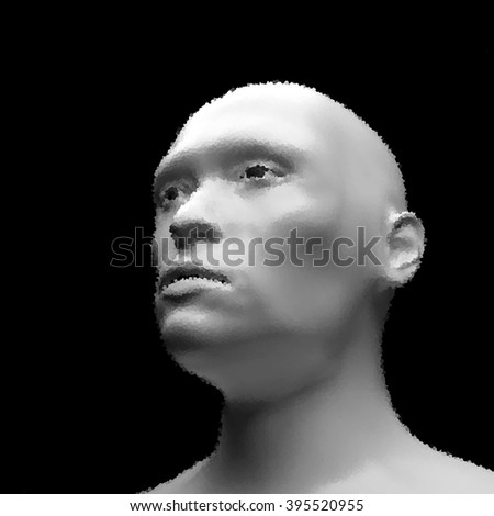 Cyborg, Android, Robot. Realistic Vector Humanoid Robot. View of Human Head. Stipple Effect. Vector Art. Dot Design. Pointillism Style. Face Scanning. - stock vector
