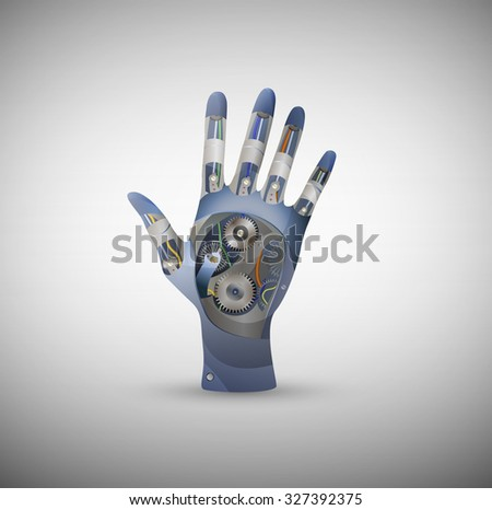 cyborg metallic hand isolated, futuristic human hand, vector - stock vector