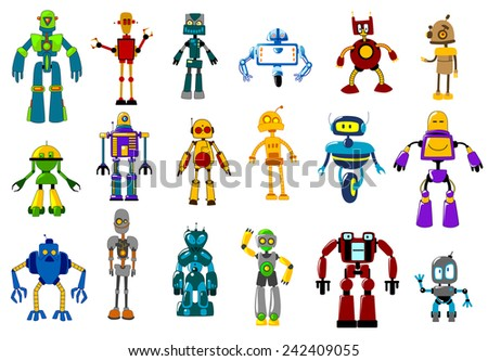 Cyborgs, robots and aliens set in cartoon style isolated on white - stock vector