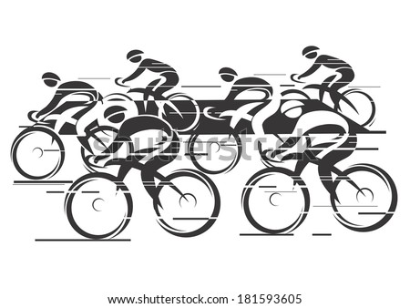 Cycle race Black white background  - cycling race with six bike riders. Vector illustrations.   - stock vector