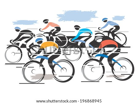 Cycle race peleton Colorful vector illustration of cycling race with six bike riders.  - stock vector