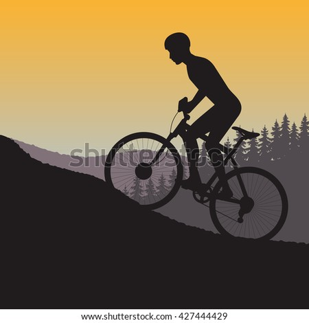cycle races in mountains silhouette on a background nature - stock vector