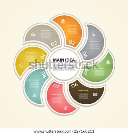 Cyclic diagram with eight steps and icons. eps 10 - stock vector