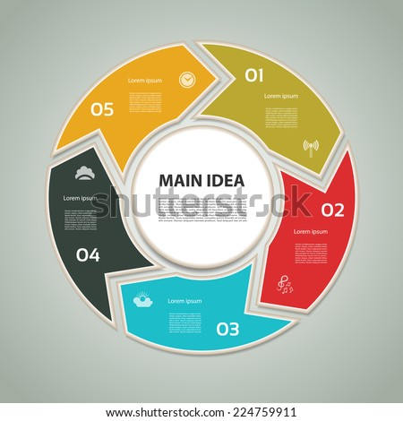 Cyclic diagram with five steps and icons. eps 10 - stock vector