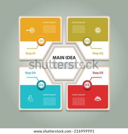 Cyclic diagram with four steps and icons. Infographic vector background. eps 10 - stock vector