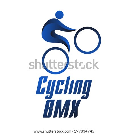 Cycling bmx, sportsmen on white background, summer sports icons, vector illustration - stock vector