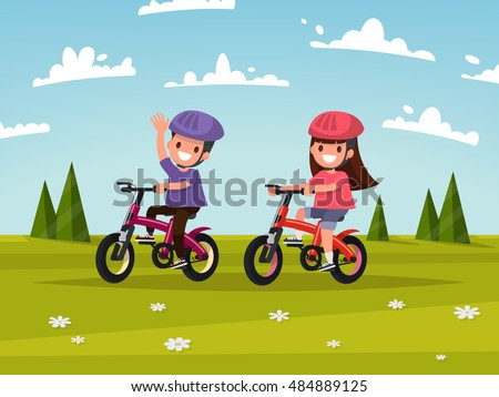 Cycling. Boy and girl go for a drive on bicycles on meadow. Vector illustration of a flat design