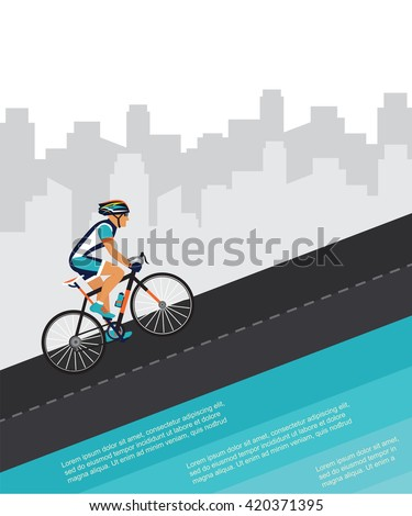 cycling competition / race poster. cyclist riding through the city - stock vector