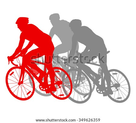 Cycling cyclist bike silhouette group athletes vector background winner concept detailed illustration isolated over white